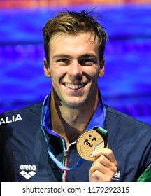 Budapest, Hungary - Jul 30, 2017. Gold medalist PALTRINIERI Gregorio (ITA) at the Victory Ceremony of the Men 1500m Freestyle. FINA Swimming World Championship.