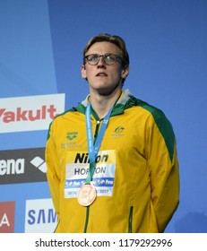 Budapest, Hungary - Jul 30, 2017. Bronze medalist HORTON Mack (AUS) at the Victory Ceremony of the Men 1500m Freestyle. FINA Swimming World Championship.