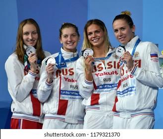 Budapest, Hungary - Jul 30, 2017. Silver medalist Russia (FESIKOVA, EFIMOVA, CHIMROVA, POPOVA) at the Victory Ceremony of the Women 4x100m Medley Relay. FINA Swimming World Championship.