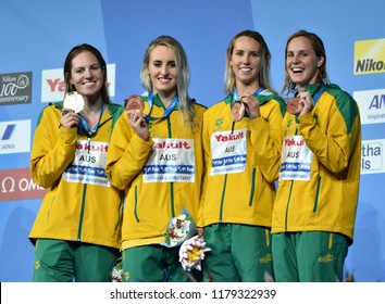 Budapest, Hungary - Jul 30, 2017. Bronze medalist Australia (SEEBOHM, MCKEOWN, MCKEON, CAMPBELL) at the Victory Ceremony of the Women 4x100m Medley Relay. FINA Swimming World Championship.