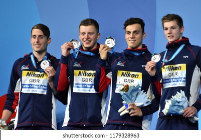 Budapest, Hungary - Jul 30, 2017. Silver medalist GBR (WALKER-HEBBORN Chris, PEATY Adam, GUY James, SCOTT Duncan) at Victory Ceremony of the Men 4x100m Medley Relay. FINA Swimming World Championship.