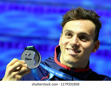Budapest, Hungary - Jul 30, 2017. Silver medalist GUY James (GBR) at the Victory Ceremony of the Men 4x100m Medley Relay. FINA Swimming World Championship.