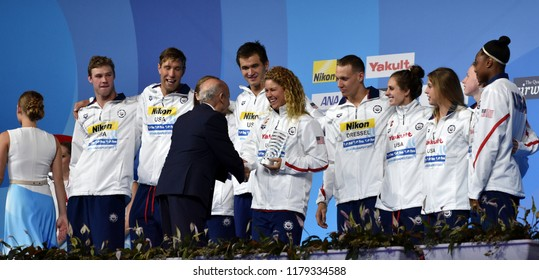 Budapest, Hungary - Jul 30, 2017. Best swimming team of the FINA Swimming World Championship is USA.