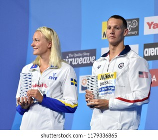 Budapest, Hungary - Jul 30, 2017. Best swimmers of the FINA Swimming World Championships are SJOSTROM Sarah (SWE) and DRESSEL Caeleb Remel (USA).