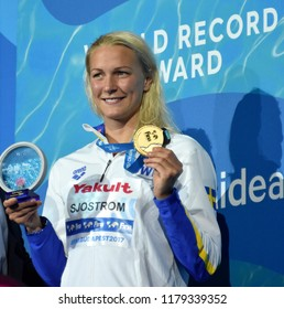 Budapest, Hungary - Jul 30, 2017. Gold medalist and World Recorder SJOSTROM Sarah (SWE) at the Victory Ceremony of the Women 50m Freestyle. FINA Swimming World Championship.