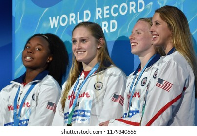 Budapest, Hungary - Jul 30, 2017. World Recorder Team USA (BAKER Kathleen, KING Lilly, WORRELL Kelsi, MANUEL Simone) at the Victory Ceremony of Women Medley 4x100m. FINA Swimming World Championships.
