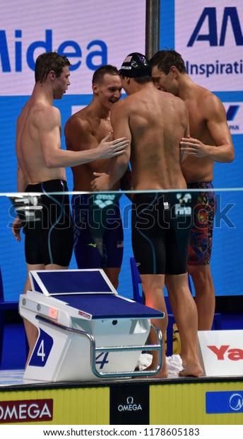 Budapest, Hungary - Jul 30, 2017. Team USA (GREVERS Matt, CORDES Kevin, DRESSEL Caeleb Remel, ADRIAN Nathan) in the Men 4x100m Medley Relay Final. FINA Swimming World Championship.