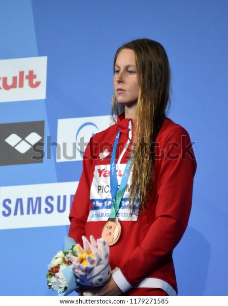 Budapest, Hungary - Jul 30, 2017. Bronze medalist PICKREM Sydney (CAN) at the Victory Ceremony of the Women 400m Individual Medley. FINA Swimming World Championship.