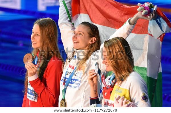 Budapest, Hungary - Jul 30, 2017. BELMONTE Mireia (ESP), HOSSZU Katinka (HUN) and PICKREM Sydney (CAN) at the Victory Ceremony of the Women 400m Individual Medley. FINA Swimming World Championship.