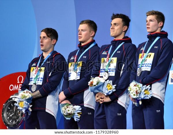 Budapest, Hungary - Jul 30, 2017. Silver medalist GBR (WALKER-HEBBORN Chris, PEATY Adam, GUY James, SCOTT Duncan) at Victory Ceremony of the Men 4x100m Medley Relay. FINA Swimming World Championship.