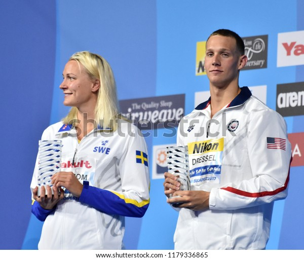 Budapest, Hungary - Jul 30, 2017. Best swimmers of the FINA Swimming World Championships are SJOSTROM Sarah (SWE) and DRESSEL Caeleb Remel (USA).