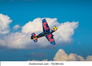 BUDAPEST, HUNGARY, JULY 1, 2 - 2017 - Red Bull Air Race in the center of capital city Budapest at Hungary