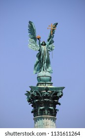 Budapest, Hungary - July 1, 2012: Archangel Gabriel statue in Heroes Square of Budapest, Hungary