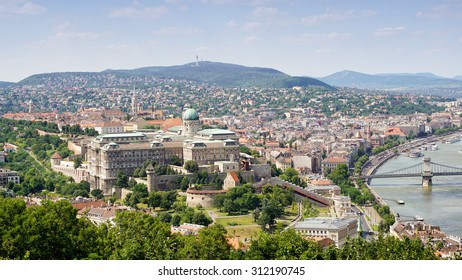 BUDAPEST, HUNGARY, JULY 10, 2015: View of Buda Castle and Danube bank from Gellert Hill, Budapest, Hungary.