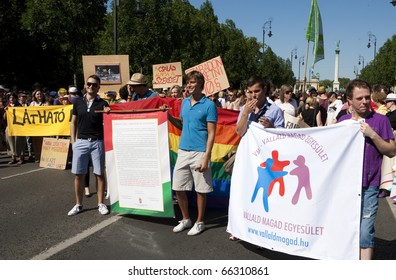 BUDAPEST, HUNGARY - JULY 10: Participants of the 10. hungarian gay pride on July 10, 2010 in Budapest, Hungary.