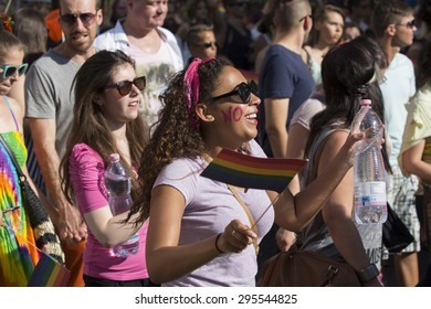 BUDAPEST, HUNGARY - JULY 11.Unidentified people took part in the 20. Budapest Gay Pride parade to support the LGBT (lesbian, gay, bisexual, and transgender) rights on July 11 2015 in Budapest, Hungary