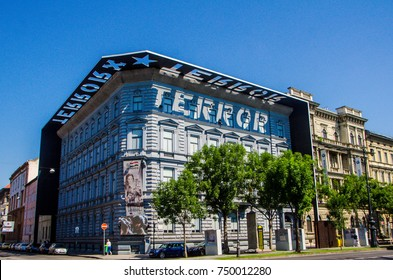 Budapest, Hungary - July 12, 2017: House of Terror museum in central Budapest. Former SS and KGB headquarters now converted into a museum and memorial to those killed during the Cold War.