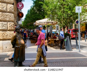 Budapest, Hungary - July 12,2018: Statue of The Fat Policeman in down town. Famous spots and photo ops for tourists.