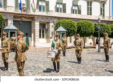 Budapest, Hungary - July 16,2017 - Changing of the guard in front of the Presidential Palace in Budapest