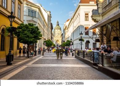 Budapest, Hungary - July 16,2017 - Street in Budapest, Hungary