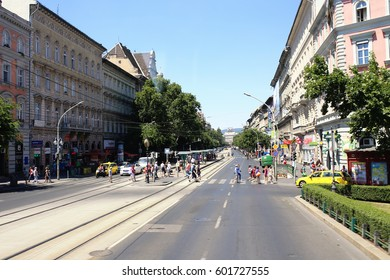 BUDAPEST, HUNGARY - JULY 18, 2016:People walking in the streets of Budapest. 3.3 million people live in Budapest Metropolitan Area. It is the largest city in Hungary and 9th largest in the EU