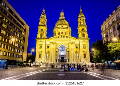 Budapest, Hungary - July 18,2017 - St. Stephen's Basilica in Budapest at night