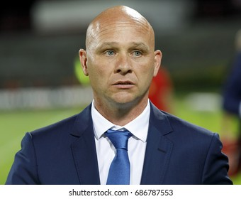 BUDAPEST, HUNGARY - JULY 19, 2017: Head coach Erik Van Der Meer of Budapest Honved waits for the kick-off prior to Budapest Honved v Hapoel Beer-Sheva UEFA Champions League match at Bozsik Stadium.