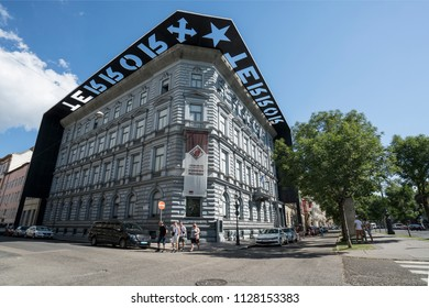 Budapest, Hungary. July 2018.  The house of terror museum building in Budapest, Hurngary