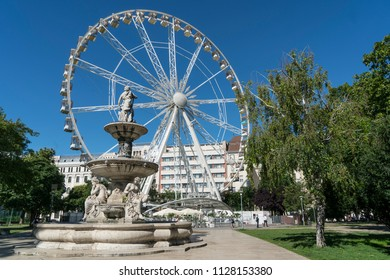 Budapest, Hungary. July 2018.   View of the ferris wheel in Erzsebet square in Budapest, Hungary