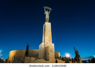 Budapest, Hungary. July 2018. View at dusk of Liberation Monument on Jubilee Park Hill in Budapest, Hungary