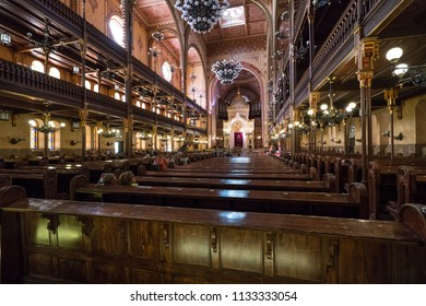 Budapest, Hungary. July 2018.  view of the interior of the synagogue in Budapest, Hungary