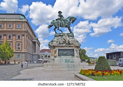 BUDAPEST, HUNGARY - JULY 21, 2017: Bronze monument to Eugene of Savoy in Budapest. Horseman on horseback monument of green in Budapest to King Eugene
