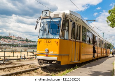 BUDAPEST, HUNGARY - JULY 22, 2017: Retro tram in Budapest in Hungary in a beautiful summer day