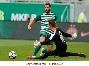 BUDAPEST, HUNGARY - JULY 22, 2018: (l-r) Daniel Bode competes for the ball with Botond Antal during Ferencvarosi TC v DVTK match between at Groupama Arena.