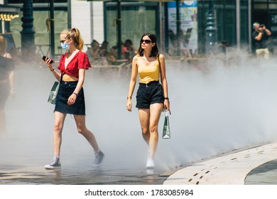 Budapest Hungary july 22, 2020 View of unidentified pedestrians with a face mask to protect from the coronavirus walking in the old streets of Budapest the capital of Hungary