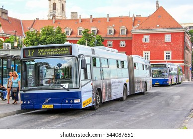 BUDAPEST, HUNGARY - JULY 23, 2014: Articulated city buses Volvo 7700A at the bus station.