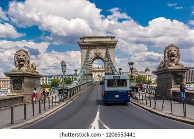 BUDAPEST, HUNGARY - JULY 24, 2013: Chain Bridge in beautiful Budapes, Hungary