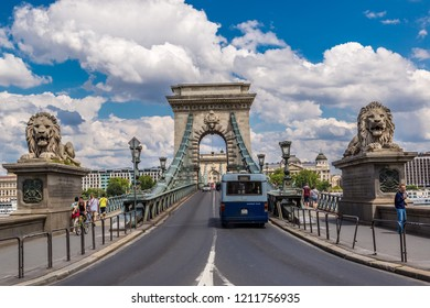 BUDAPEST, HUNGARY - JULY 24, 2013:  Magnificent Chain Bridge in beautiful Budapest