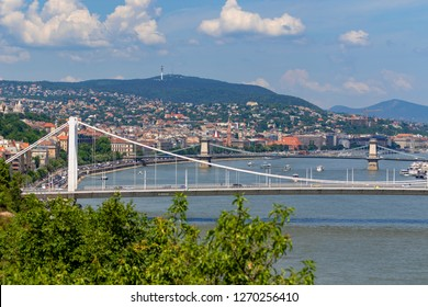 Budapest Hungary July 25 2018 Magnificent panoramic view of Elisabeth Bridge -with the river Danube -, is the third newest bridge of Budapest, Hungary, connecting Buda and Pest across the River Danube