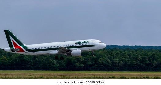 Budapest Hungary July 25 2019: Alitalia  Airline Airbus 321 EI-IKL just landing at Budapest International airport.