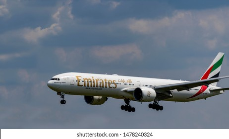Budapest Hungary July 25 2019: Emirates Airline Boeing 777 A6-EBB  just landing at Budapest International airport.