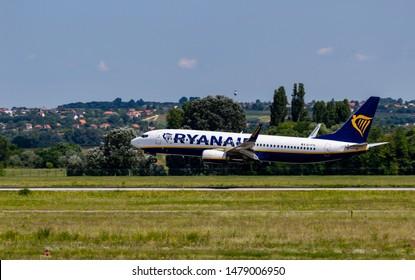 Budapest Hungary July 25 2019: Ryanair Boeing 737 just landing at Budapest International airport.