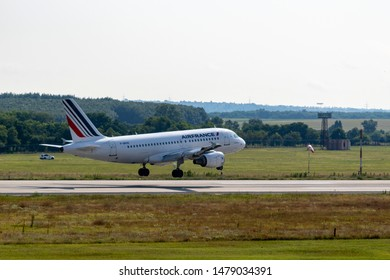 Budapest Hungary July 25 2019: Air France  Airbus 319 F-GRXD just landing at Budapest International airport.