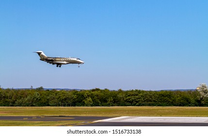 Budapest Hungary July 25 2019: Private jet Learjet OE-HII is just landing at Budapest International airport.