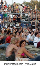 BUDAPEST, HUNGARY - JULY 26: Unidentified people participate in Sziget Music Festiv. on July 26 2003 in Budapest. Sziget won the Best Eu. Major Festival title at the Eu. Festival Awards in 2011.