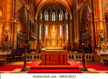 Budapest / Hungary - July 26th, 2020: the basilica style interior of the famous Matthias Church.