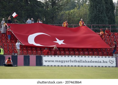 BUDAPEST, HUNGARY - JULY 27, 2014: Supporters of Galata with a big Turkish flag during Budapest Honved vs. Galatasaray football match at Bozsik Stadium.