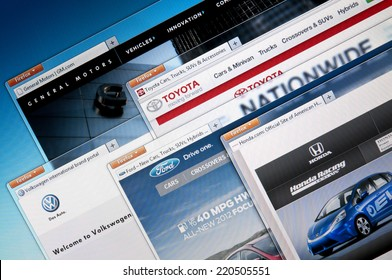 Budapest, Hungary - July 28, 2011: Selection of the World`s largest automobile manufacturing company web sites. Including: General Motors, Toyota, Volkswagen, Ford and Honda.