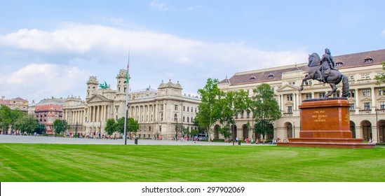 BUDAPEST, HUNGARY, JULY 29, 2014: view of the kossuth lajos ter square in hungarian budapest which is adjacent to the building of parliament.