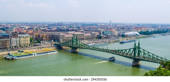 BUDAPEST, HUNGARY, JULY 30, 2014: View over danube river in budapest during one sunny day at the end of july.